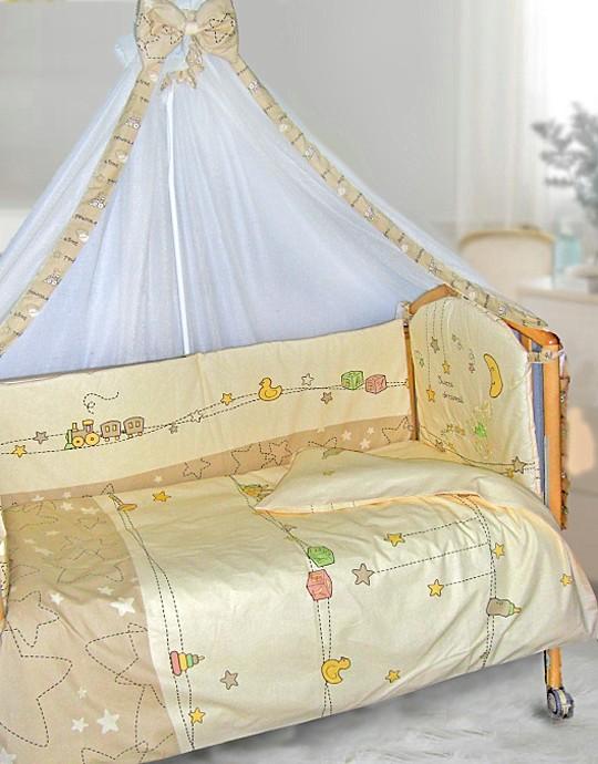 комплекты постели в детскую кроватку для новорожденных